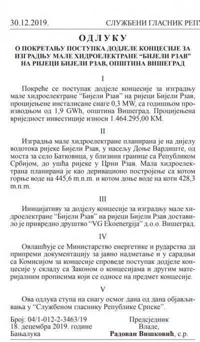 Službeni glasnik Republike Srpske br.111 od 30.12.2019. - isječak