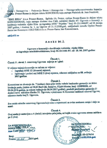 Sporni Aneks 2 Ugovora o koncesiji